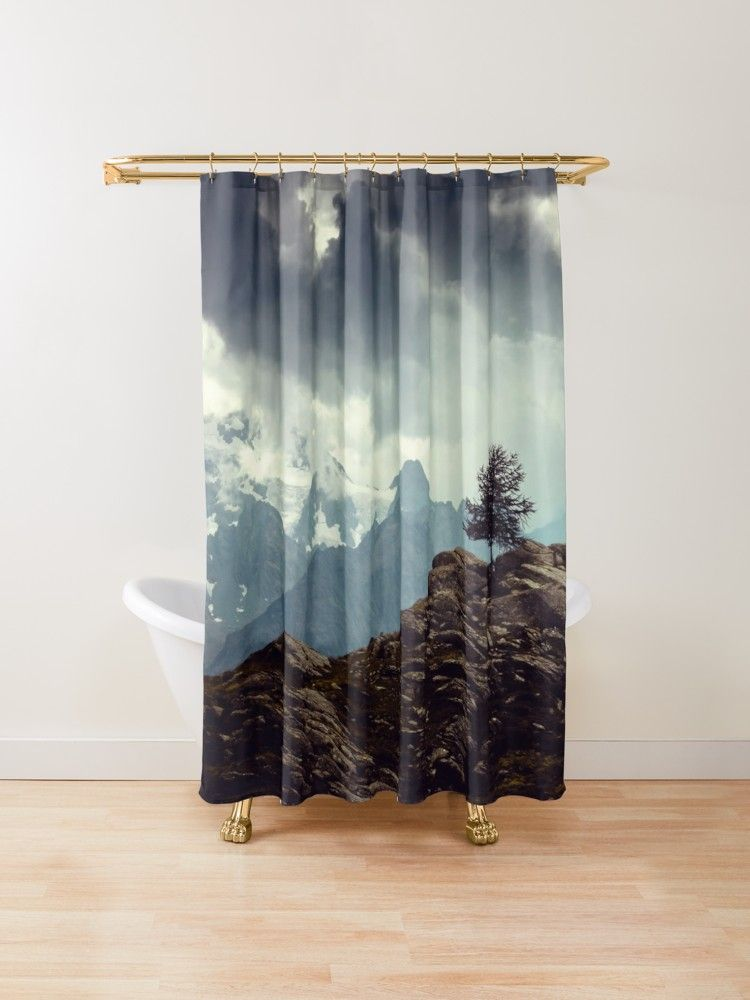 Single Tree Along A Trail Through The Italian Alps With View Of The Piz Bernina The Highest Mountain Tree Shower Curtains Curtains Designer Shower Curtains