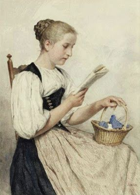 """Reading Girl"" (Date unknown), by Swiss artist - Albert Anker (1831-1910), Medium unknown, Dimensions unknown, Location unknown."
