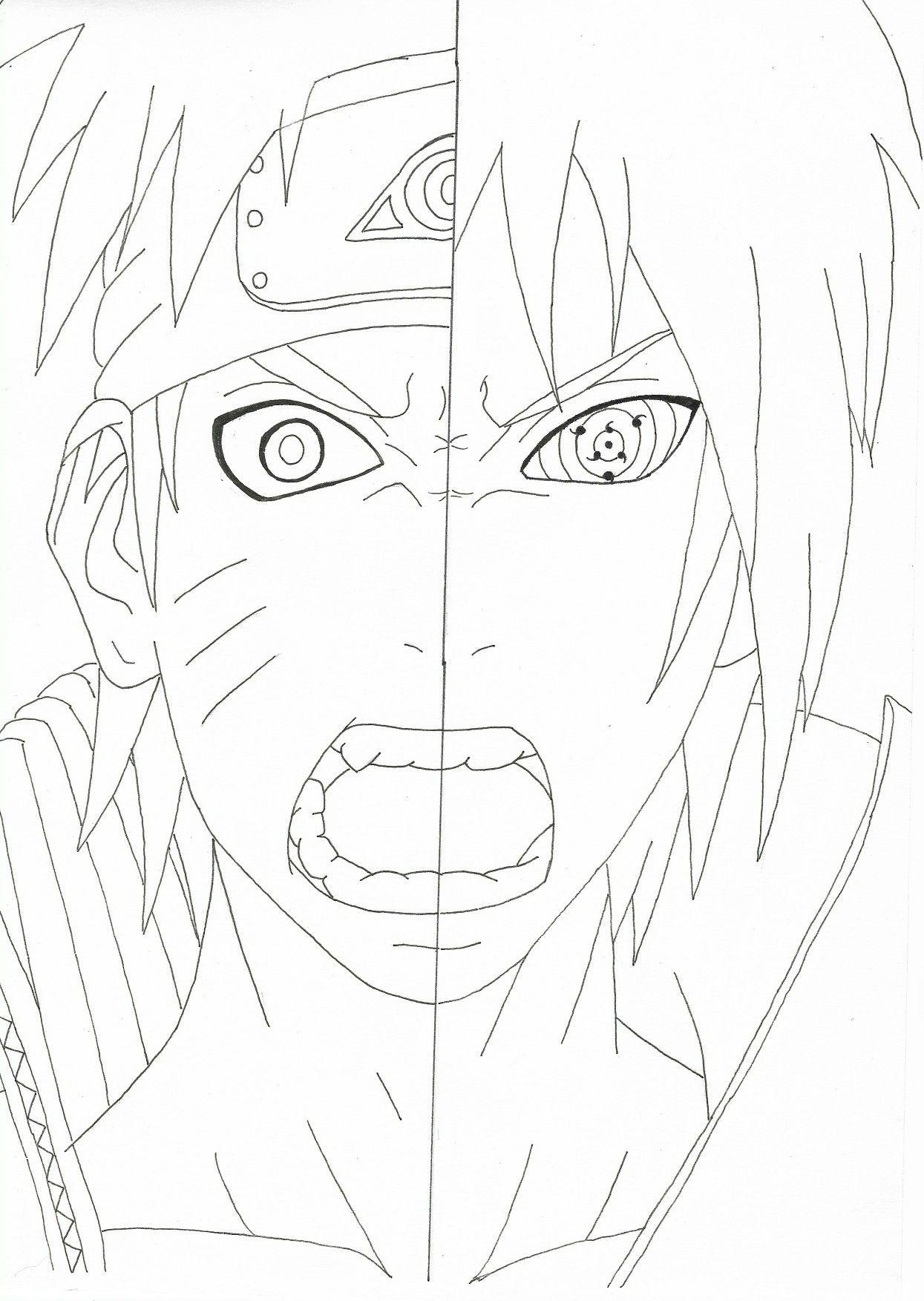 Sasuke vs Naruto imagens) Desenhos para colorir