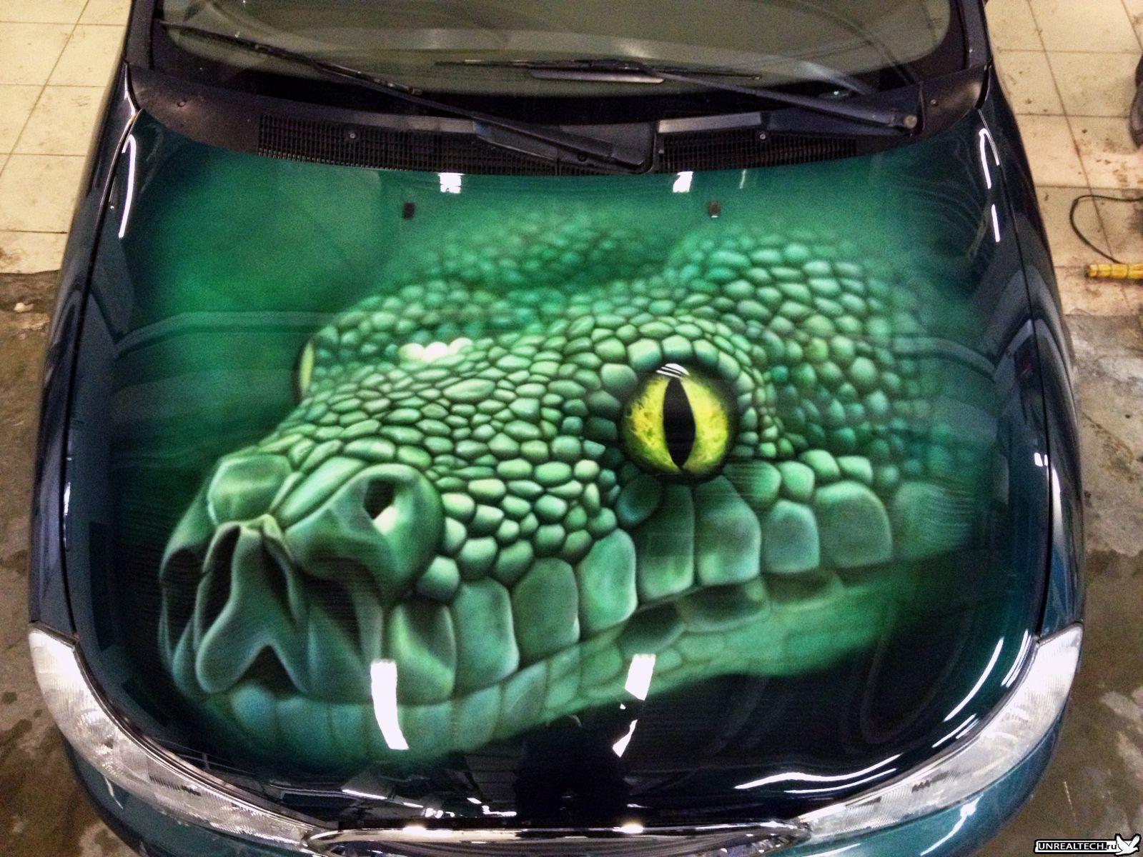 Car Airbrushing Painting Hood Green Snake