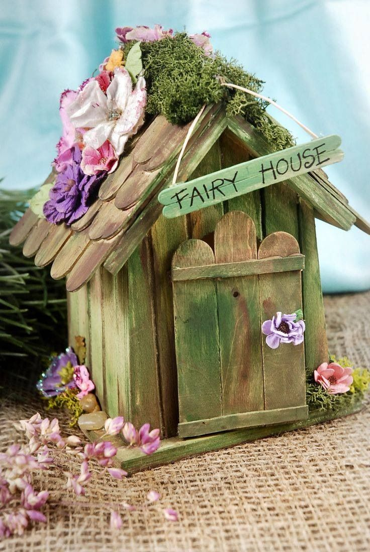Fairy hut made with ice cream sticks | Secret Gardens | Pinterest ...