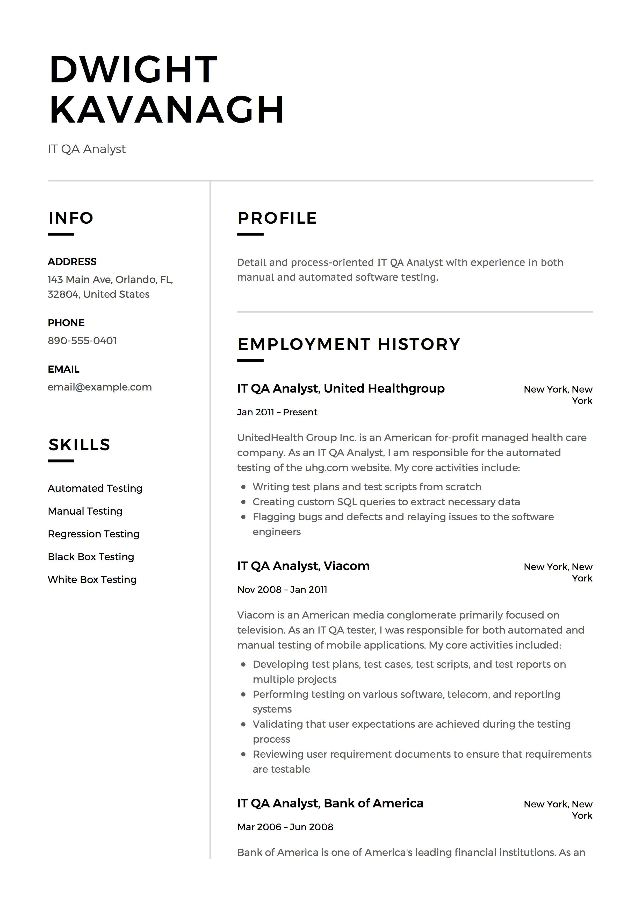 It Qa Analyst Resume Example Template Sample Cv Formal Design Creative Free Download In Pdf Resume Examples Resume Guide Resume