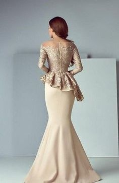 Details about Arabic Formal Peplum Champagne Evening Gown Delivery In About 28 Days