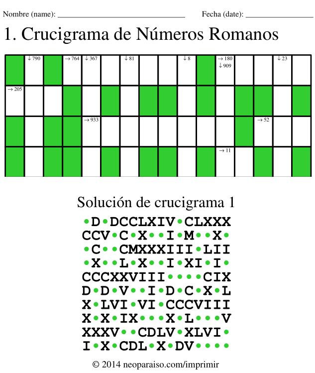 Crucigramas Imprimibles De Conversion De Numeros Arabigos A Numeros Romanos Juegos Con Numeros Romanos Juegos De Matematicas Numeros Romanos