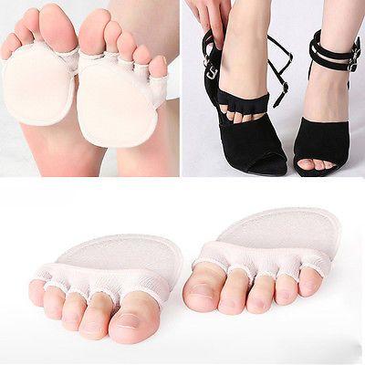 c6ba6ed52c779 Women Non Slip High Heels Sandal Invisible Half Footie Open Toe Socks New