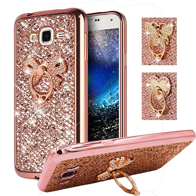 Amazon Com Galaxy J2 Prime Grand Prime Grand Prime Plus Case Best Share Soft Bumper Glitter Slim Fit Bling Tpu Back Cover For S Case Kickstand Metal Rings