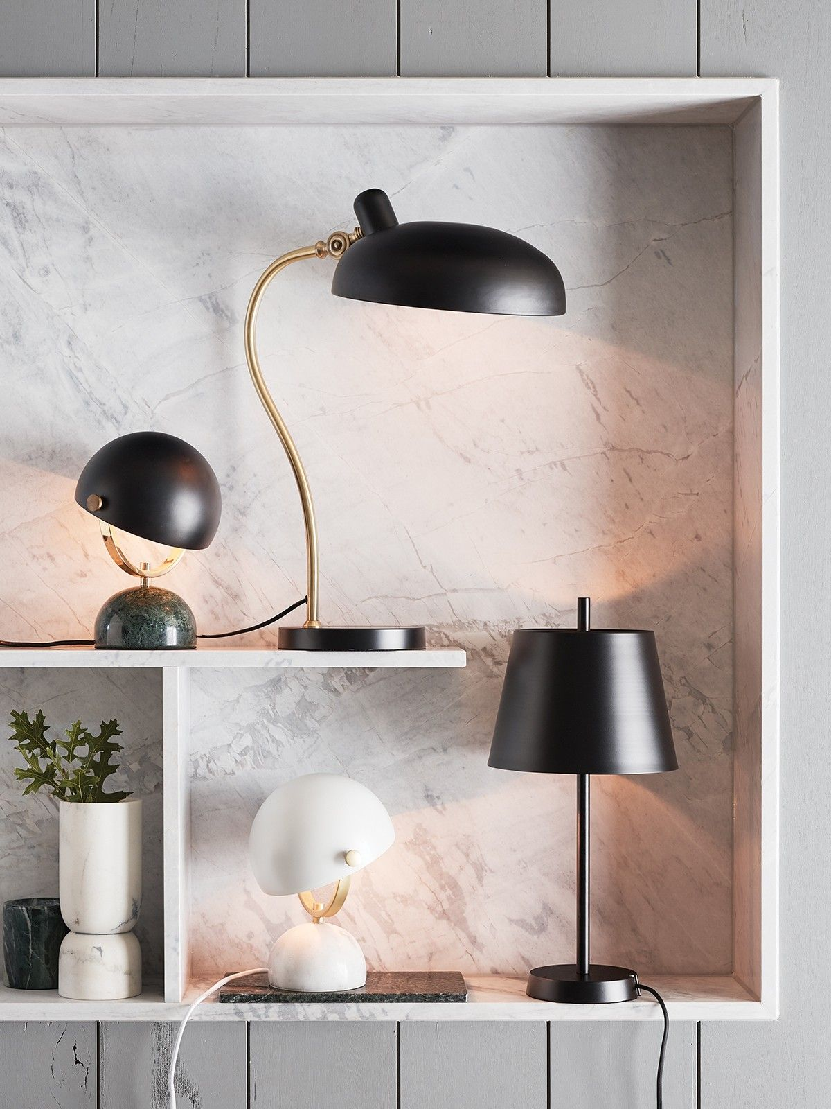 Lowe Table Lamp In White Marble Br Interior