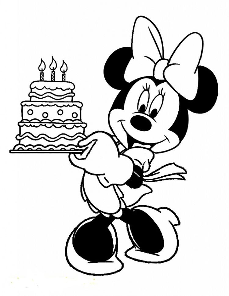 Minnie Mouse Birthday Cake Coloring Pages Minnie Mouse Coloring