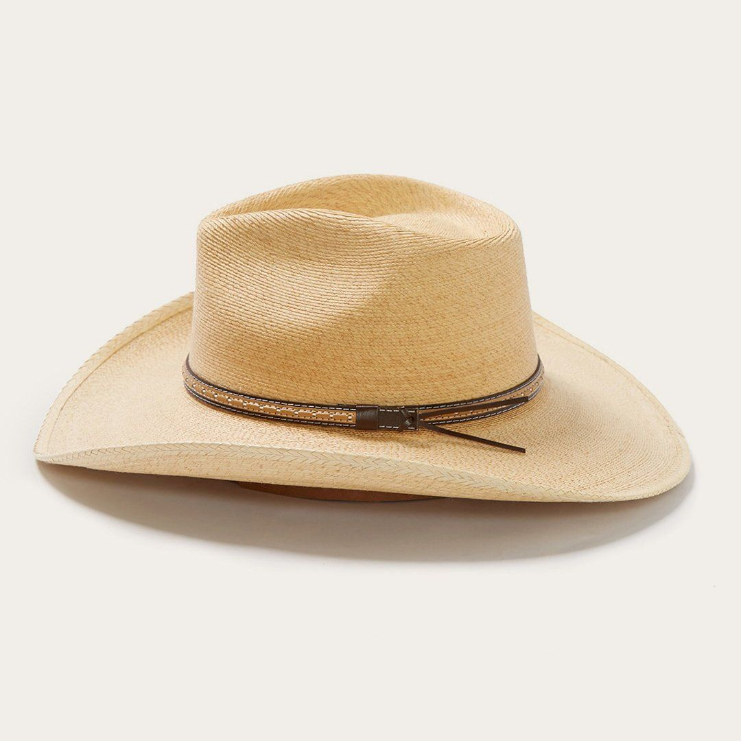 Sawmill Palm Leaf Western Hat is constructed of palm leaf straw and features a dri-lex interior sweatband and decorative leather hat band. Palm Leaf Straw. Brim: 3 1/2