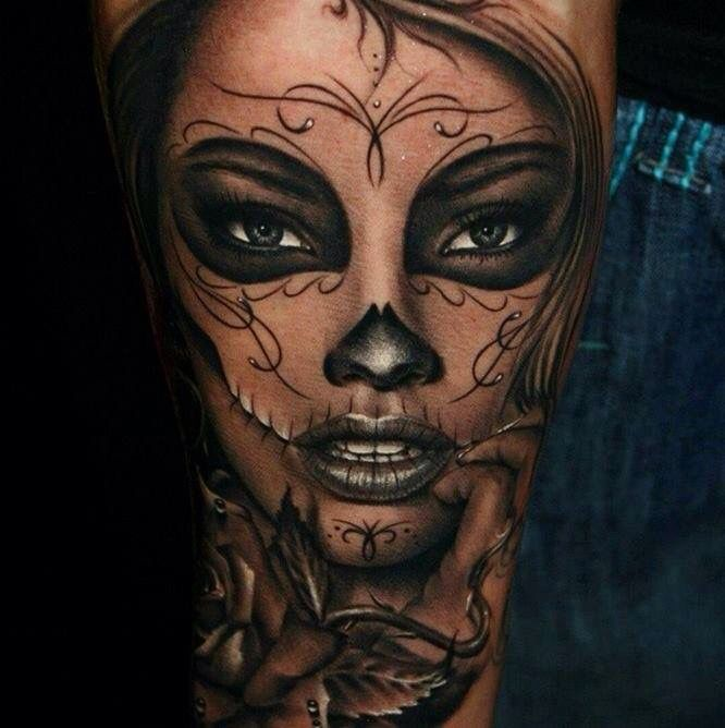 Day Of The Dead Tattoo Color Of Lips And Highlighting Is Awesome Face Tattoos Best 3d Tattoos Girl Tattoos