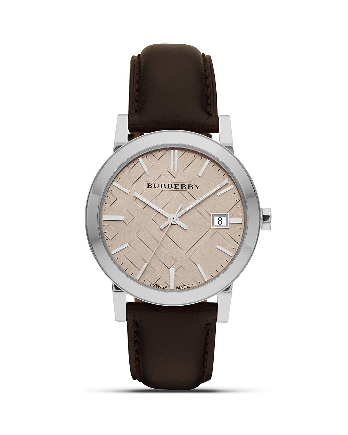 73f8e9e46be Burberry Leather Watch with Check Face