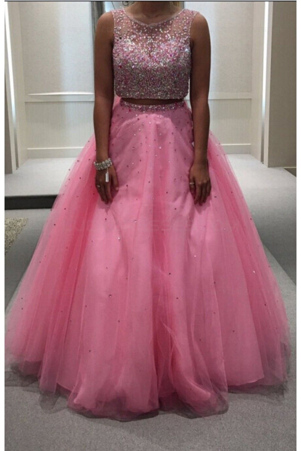 Beaded two pieces long pink keyhole back prom dresses party evening