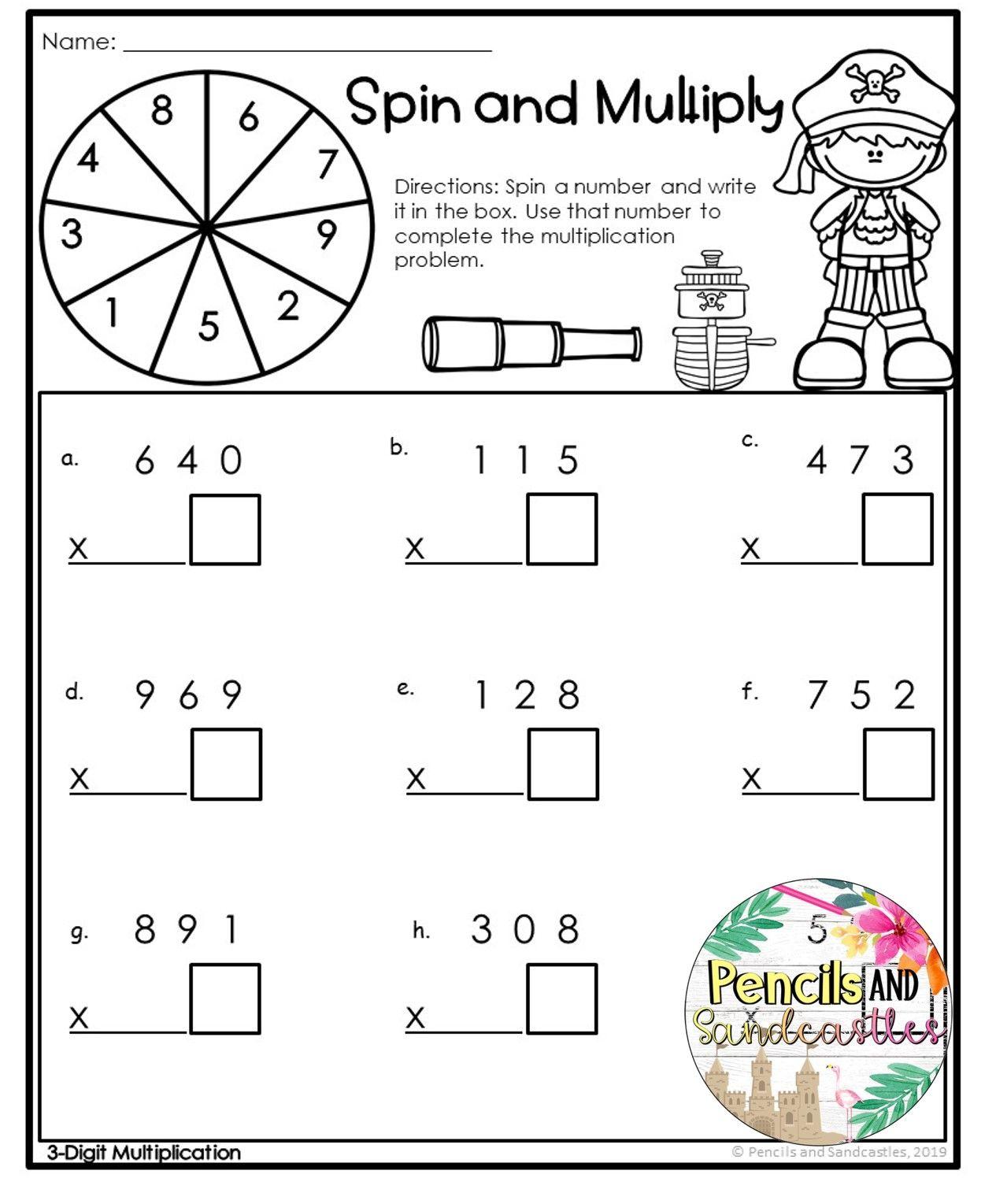 Multiplication Worksheets Print And Go 3digts By 1 Digit Multiplication Worksheets Multiplication Worksheets