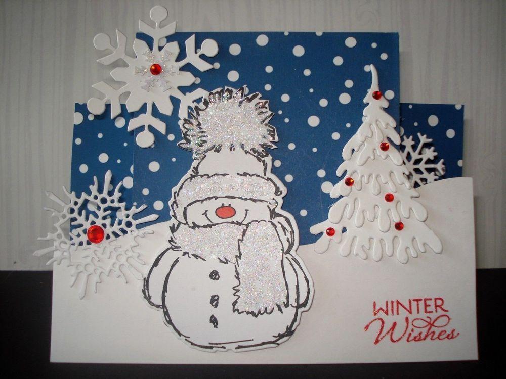 Handmade snowman christmas card kit 5 step cards die for Handmade snowman christmas cards