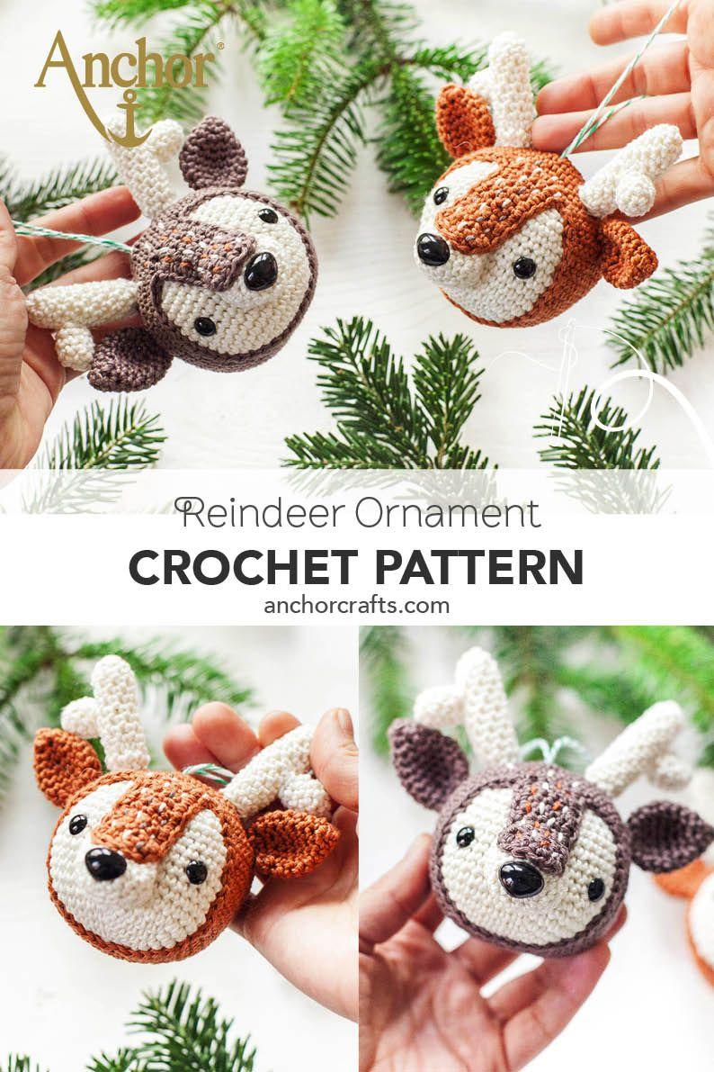 freecrochetpattern Adorable reindeer crochet ornaments designed by ...