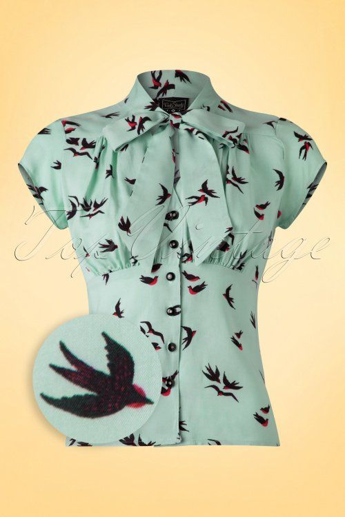 Steady Clothing - 50s Harlow Sparrows Tie Blouse in Aqua Blue