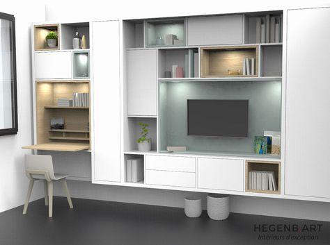 Bibliothèque bureau intégré design beau design meuble bibliotheque