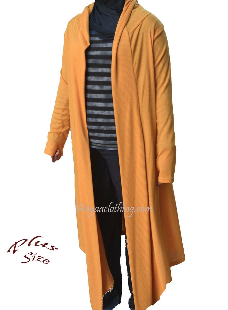 Plus Size Long Ribbed Cardigan Sweater - XL 2XL 3XL - Golden ...