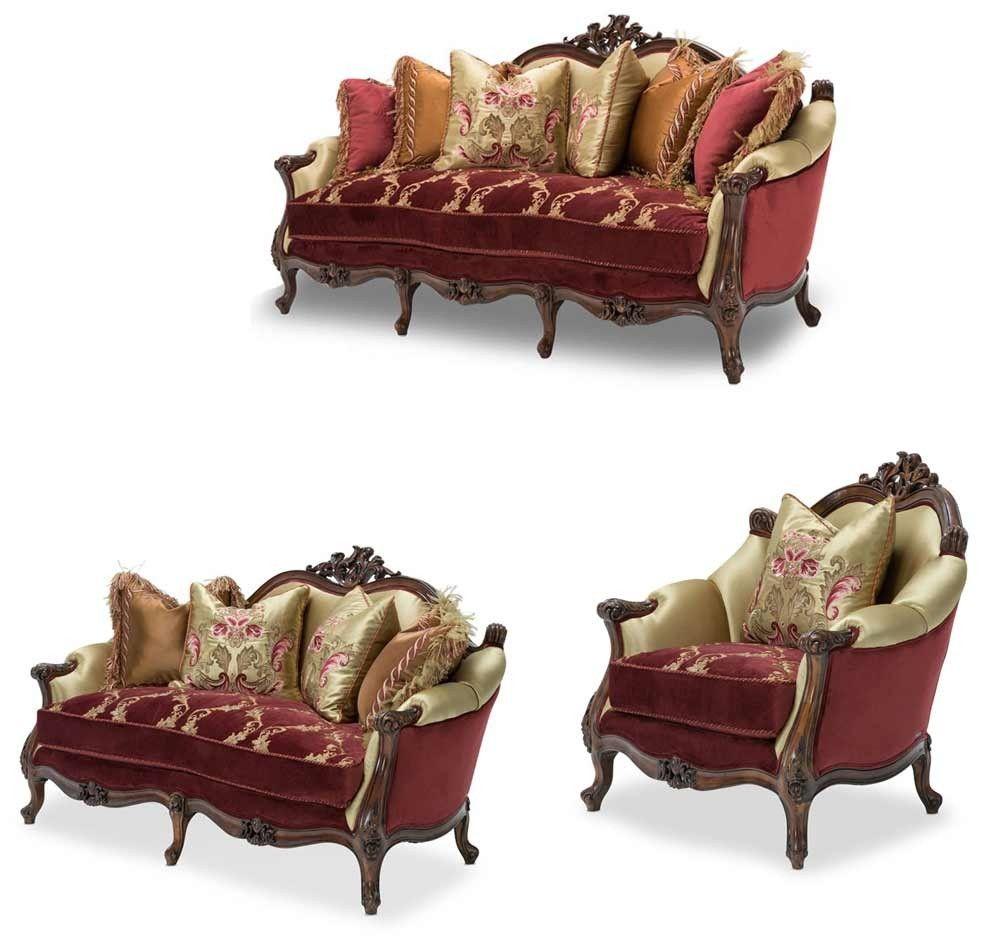 AICO Furniture - Monique 3 Piece Living Room Set - FS-MNIQU15-RDRBY-3SET