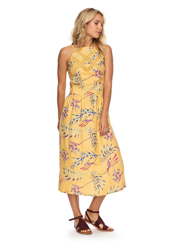 Summer Navajo Strappy Midi Dress 191274458649 Roxy Summer Dresses Strappy Midi Dress Yellow Midi Dress [ 1500 x 1117 Pixel ]