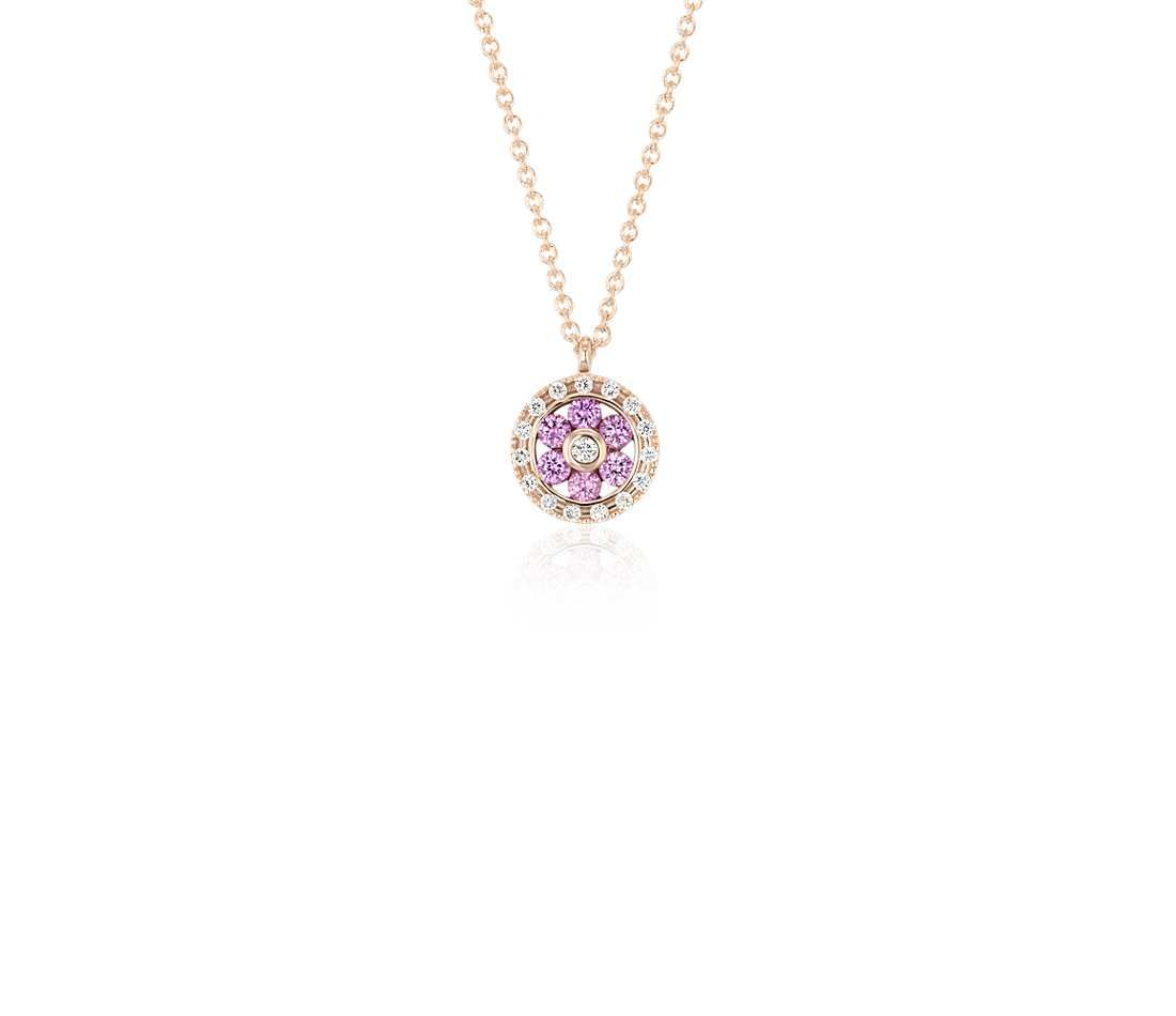 Blue Nile Petite Amethyst and Diamond Floral Pendant in 14k Rose Gold (2.8mm) sQ7ltVPTR