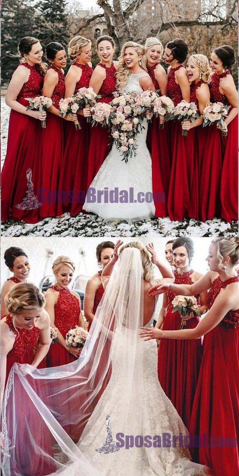 High neck aline cheap modest popular formal long red bridesmaid