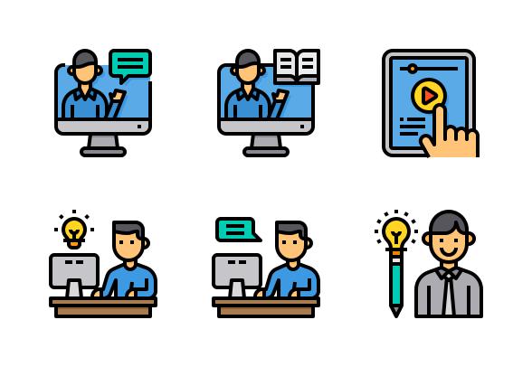 E Learning Icons By Komkrit Noenpoempisut Elearning Learning Icon