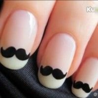 """Suzy's new """"french manicure"""" Mustache nails!"""