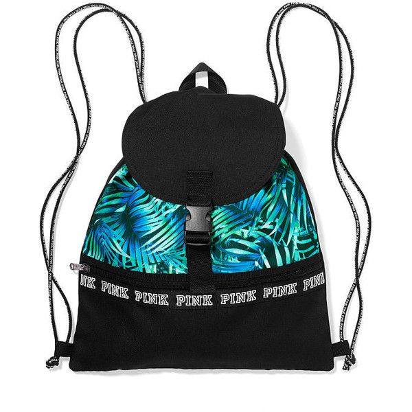 PINK Campus Drawstring Backpack with Flap ($20) ❤ liked on ...