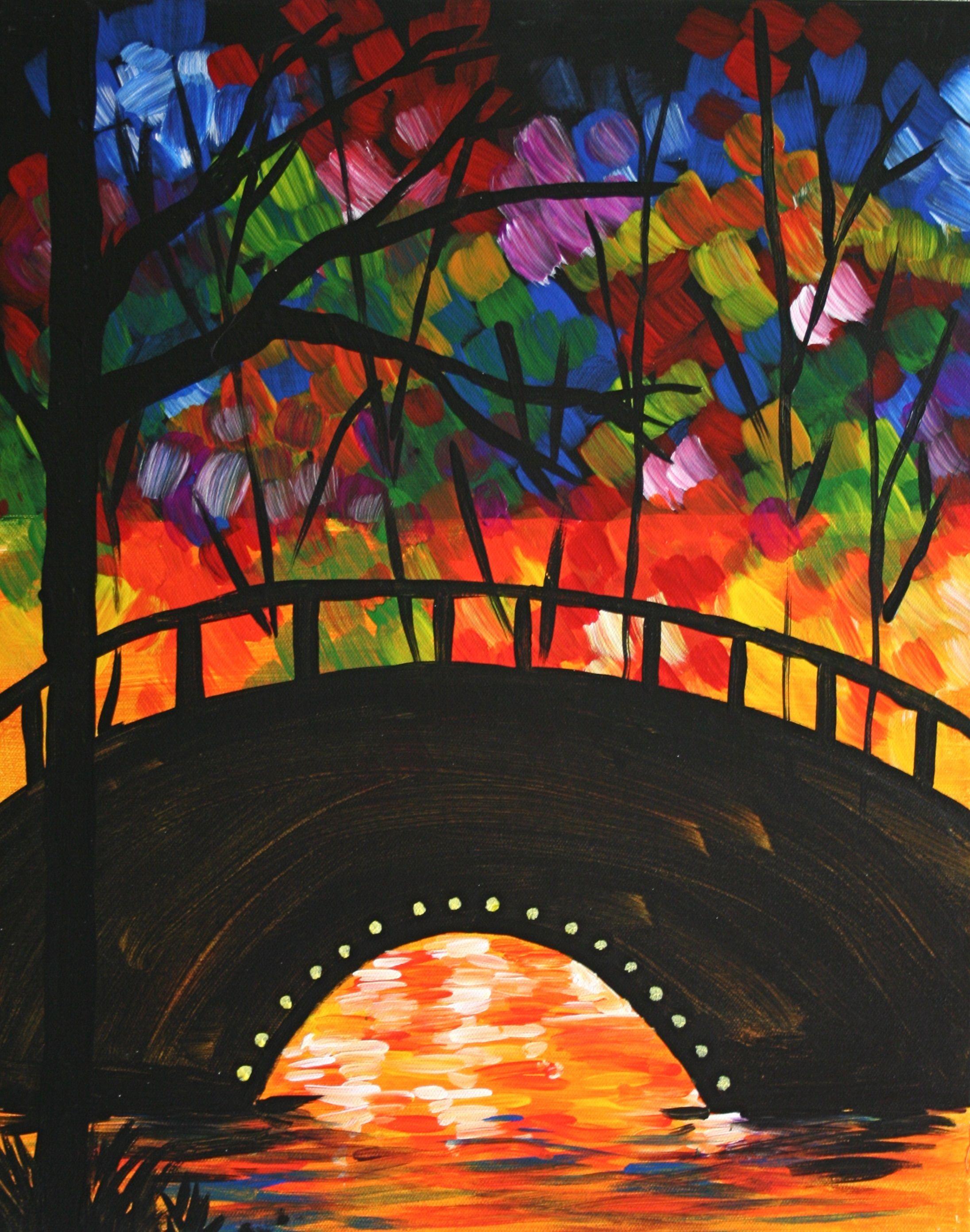 Bridge At Twilight Painting Pinots Palette Paintings Art