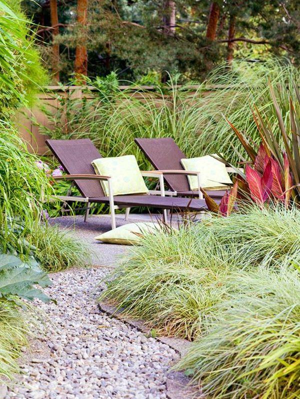 Gartengestaltung Mit Kies Und Steinen Rattan Liegen Kissen