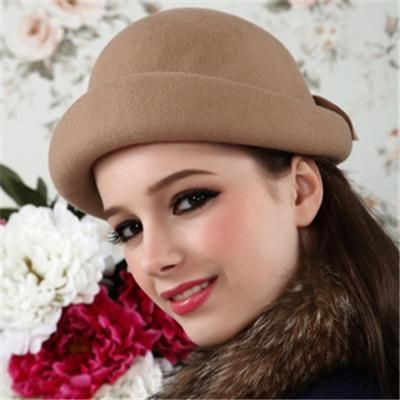 Bowknot loveable beret WOOL women's bowler hats