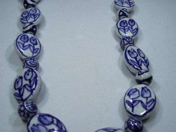 Blue China Dish Beaded Necklace 21in by IroquoisDreams on Etsy