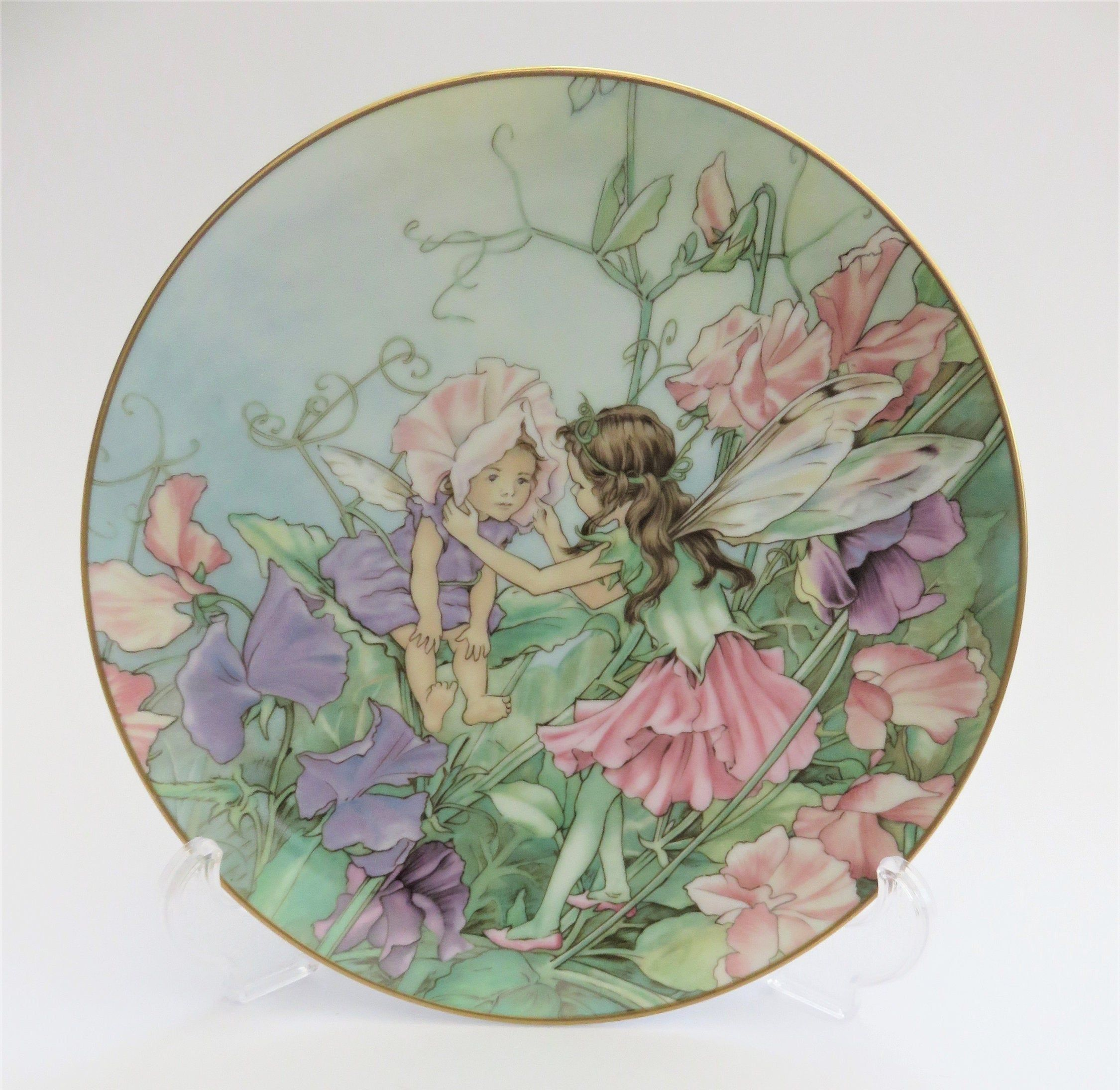 The Sweet Pea Fairy Plate Vintage Flower Fairies Collection Etsy Vintage Flowers Fairy Paintings Flower Fairies