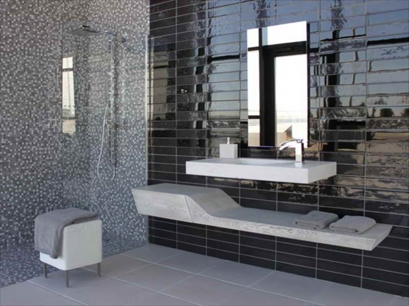 Black Tiles In Bathroom Ideas. I Love Subway Tiles