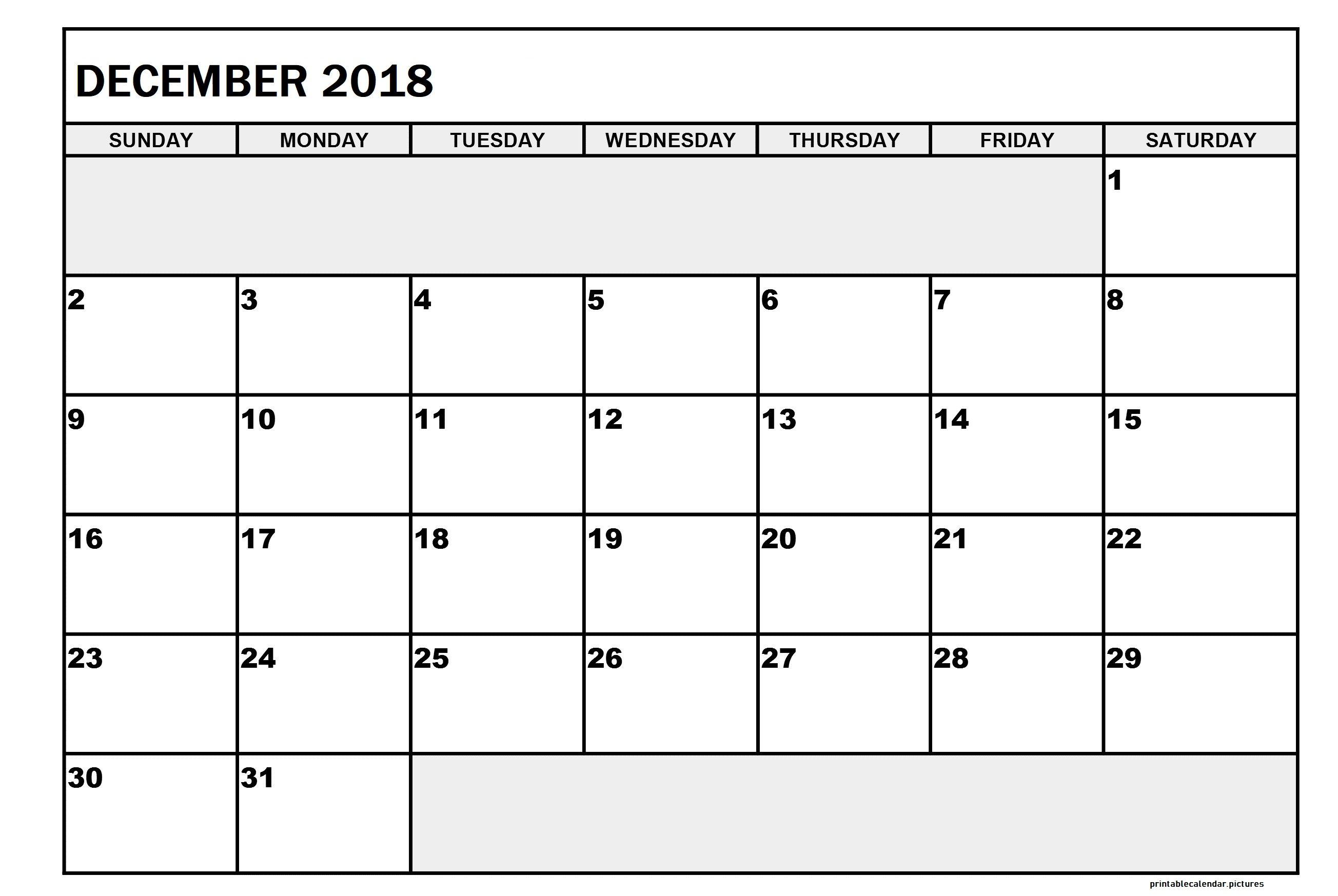 December 2018 Printable Calendar December 2018 Printable