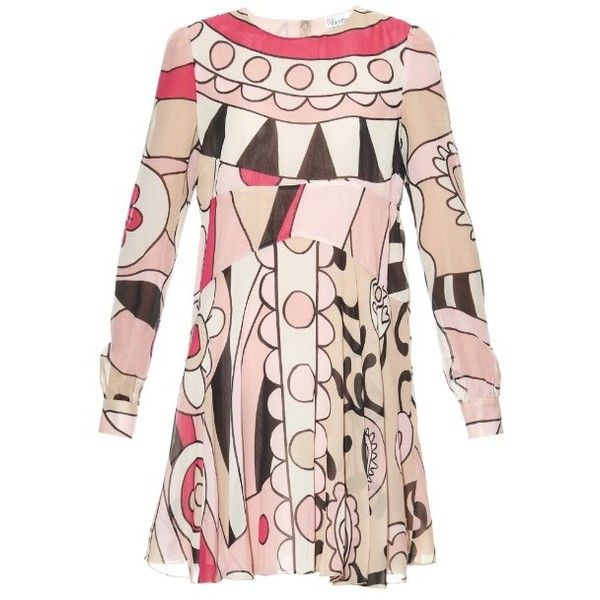 REDValentino Psychedelic-print silk babydoll dress ($1,200) ❤ liked on Polyvore featuring dresses, pink multi, pink frilly dress, a line dress, baby doll dress, long sleeve babydoll dress and pink dress