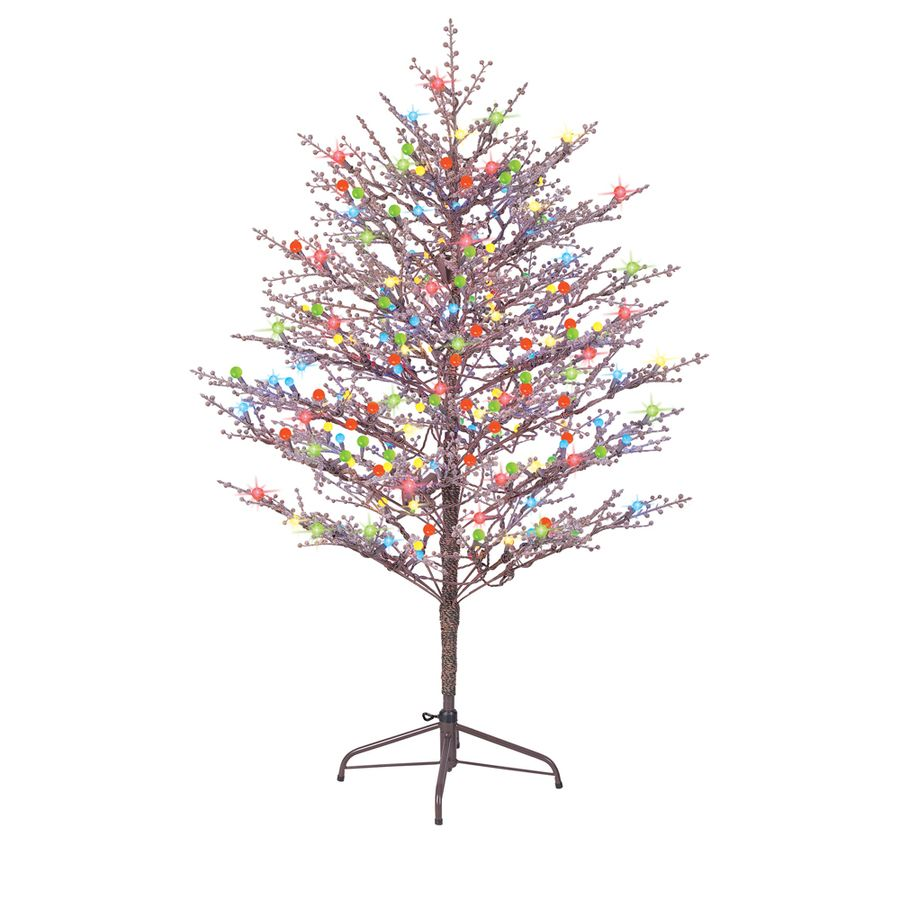 Shop GE 5 Ft Indoor/Outdoor Winterberry Pre Lit Artificial Christmas Tree  Multicolor