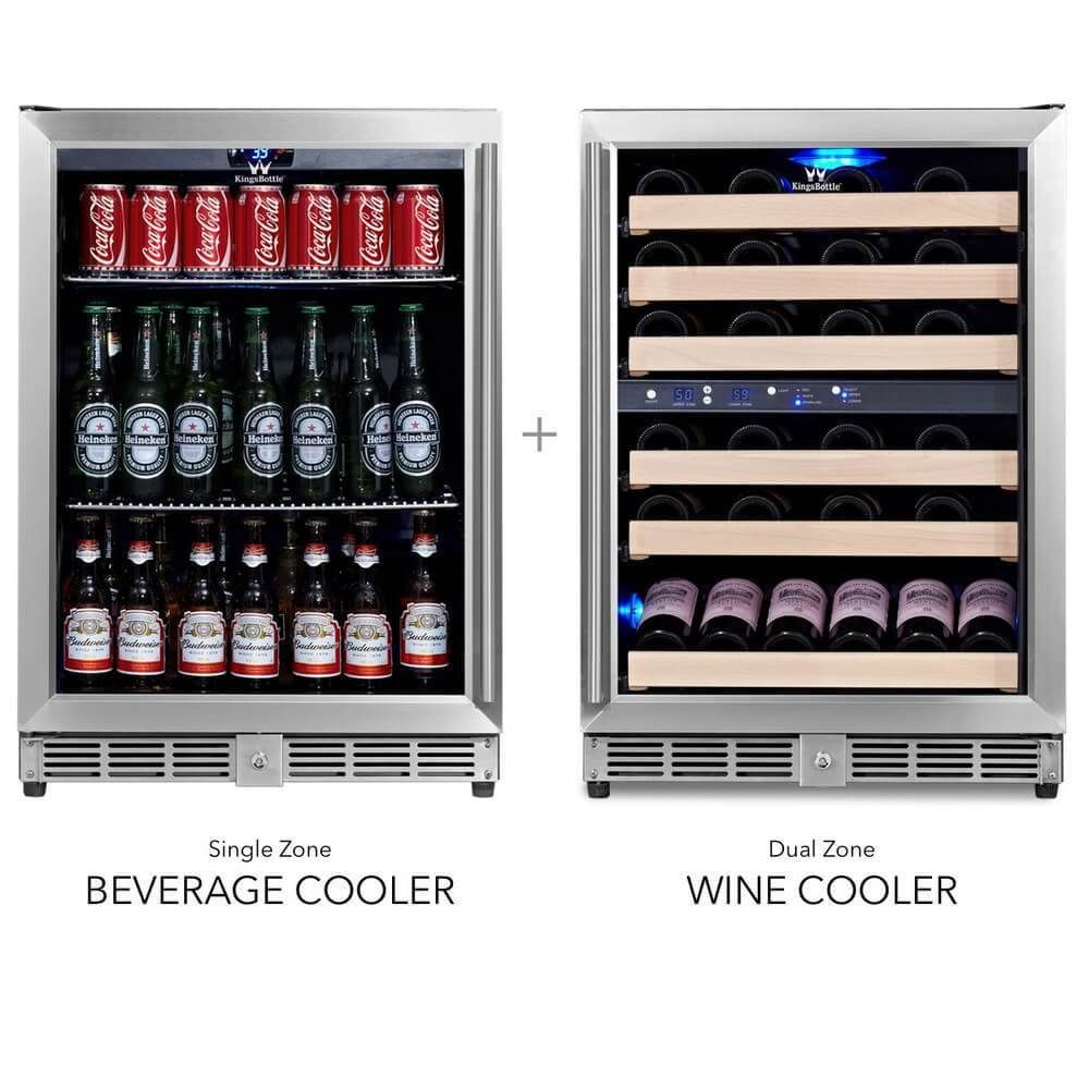 48 Inch Glass Door Wine And Beverage Fridge Center Built In Beverage Fridge Beverage Cooler Wine Coolers Drinks