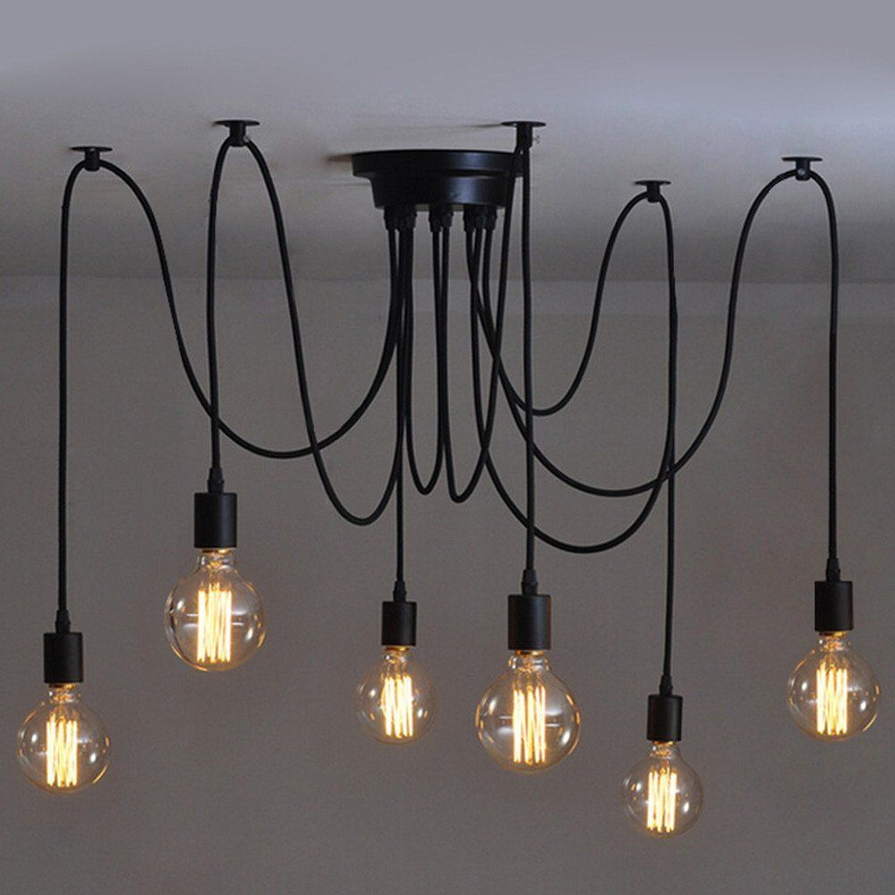 Luminaire Suspension Vintage 6 Heads Vintage Industrial Edison Ceiling Lamp Chandelier Pendant