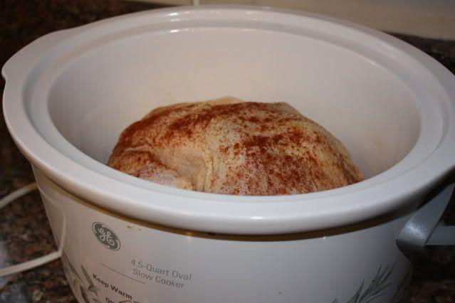 Whole chicken in a crock pot.
