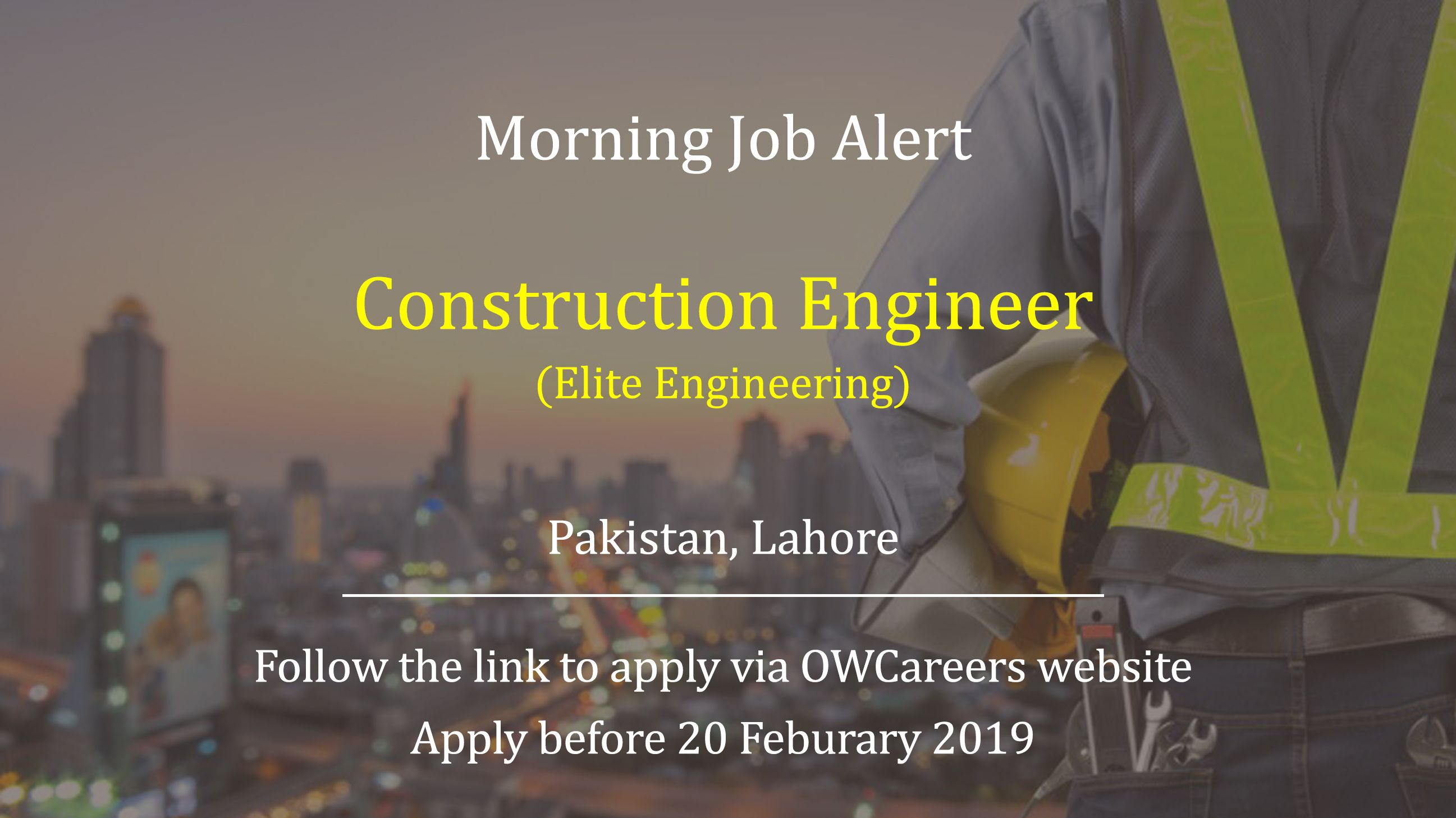 Construction Engineer Job is available with Elite