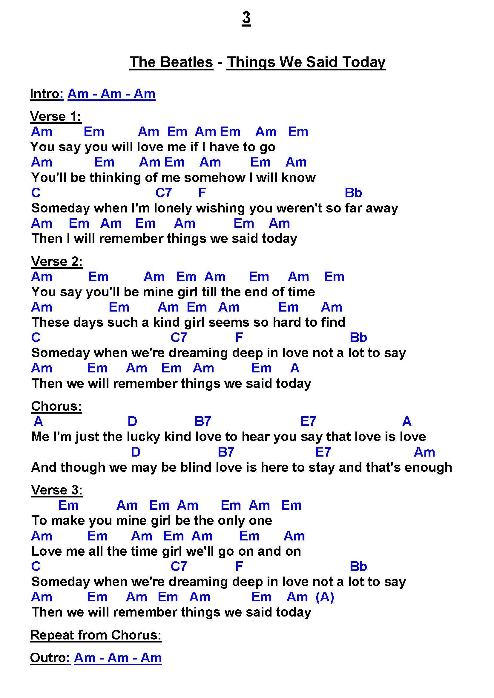 The Beatles   Things We Said Today U G   Easy ukulele songs ...