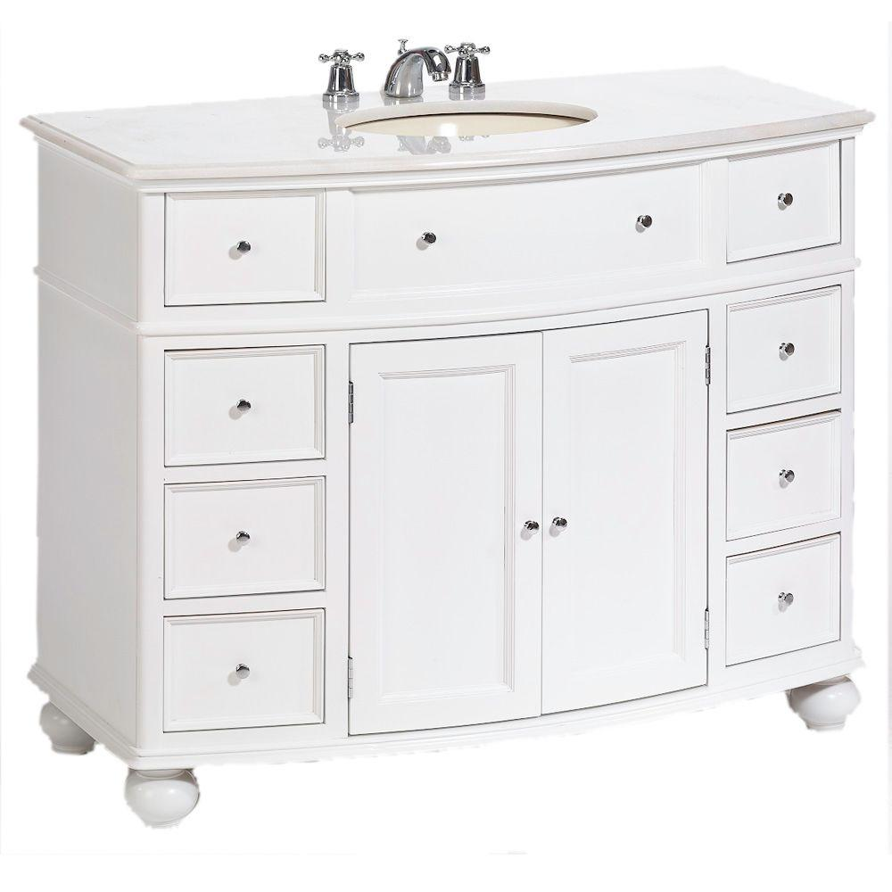 Home Decorators Collection Hampton Harbor 45 In W X 22 In D Bath Vanity In White With Natural Marble Vanity Top In White Natural Bf 23148 Wh The Home Depot Home Depot Bathroom