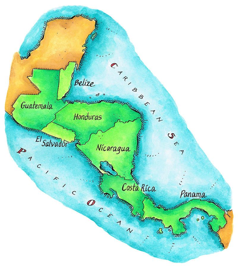 Map Of Central America Canvas Print / Canvas Art by Jennifer Thermes ...
