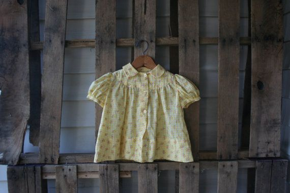 Vintage Yellow Gingham & Floral Short Sleeve Collared by vintapod
