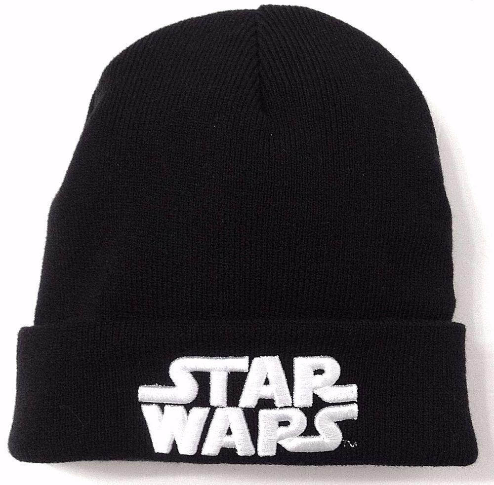 New STAR WARS BEANIE Black White Logo Cuffed Winter Knit Ski Hat Men Women 343941ffc603