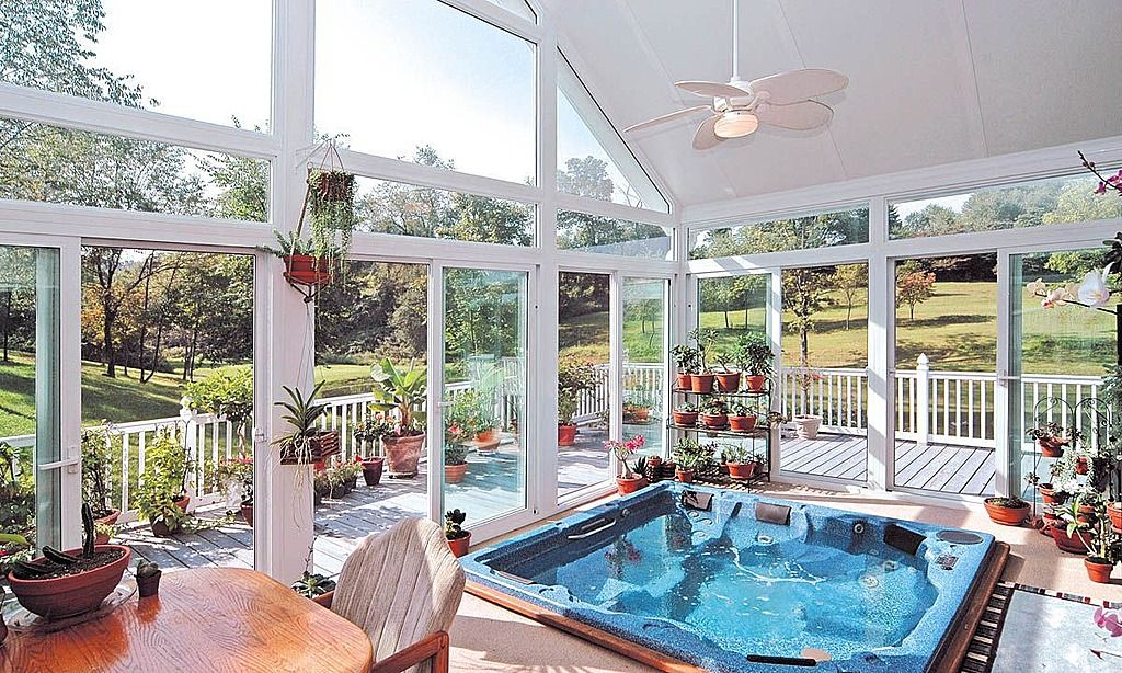Hot Tub In Sunroom With All Of My Exotic Plants Placed On The Ground Floor Walk Out Bat