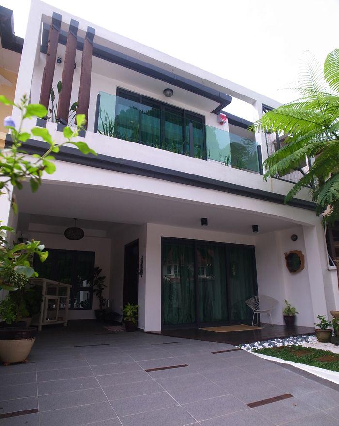 Interesting House Exterior Design In Kulai Malaysia: Renovated Sunway Damansara Home - Interesting Terrace House Facade Design