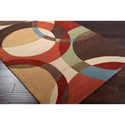 Hand Tufted Contemporary Multi Colored Circles Igbo Wool Geometric Rug 10 X 14